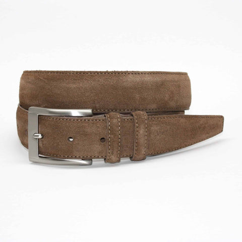 Italian Sueded Calfskin Belt - Whiskey