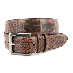 ANTIQUED SWAMP GATOR EMBOSSED CALFSKIN BELT - BROWN