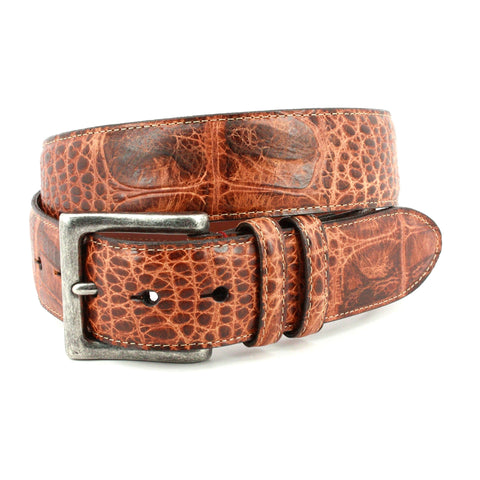 ANTIQUED SWAMP GATOR EMBOSSED CALFSKIN BELT - COGNAC