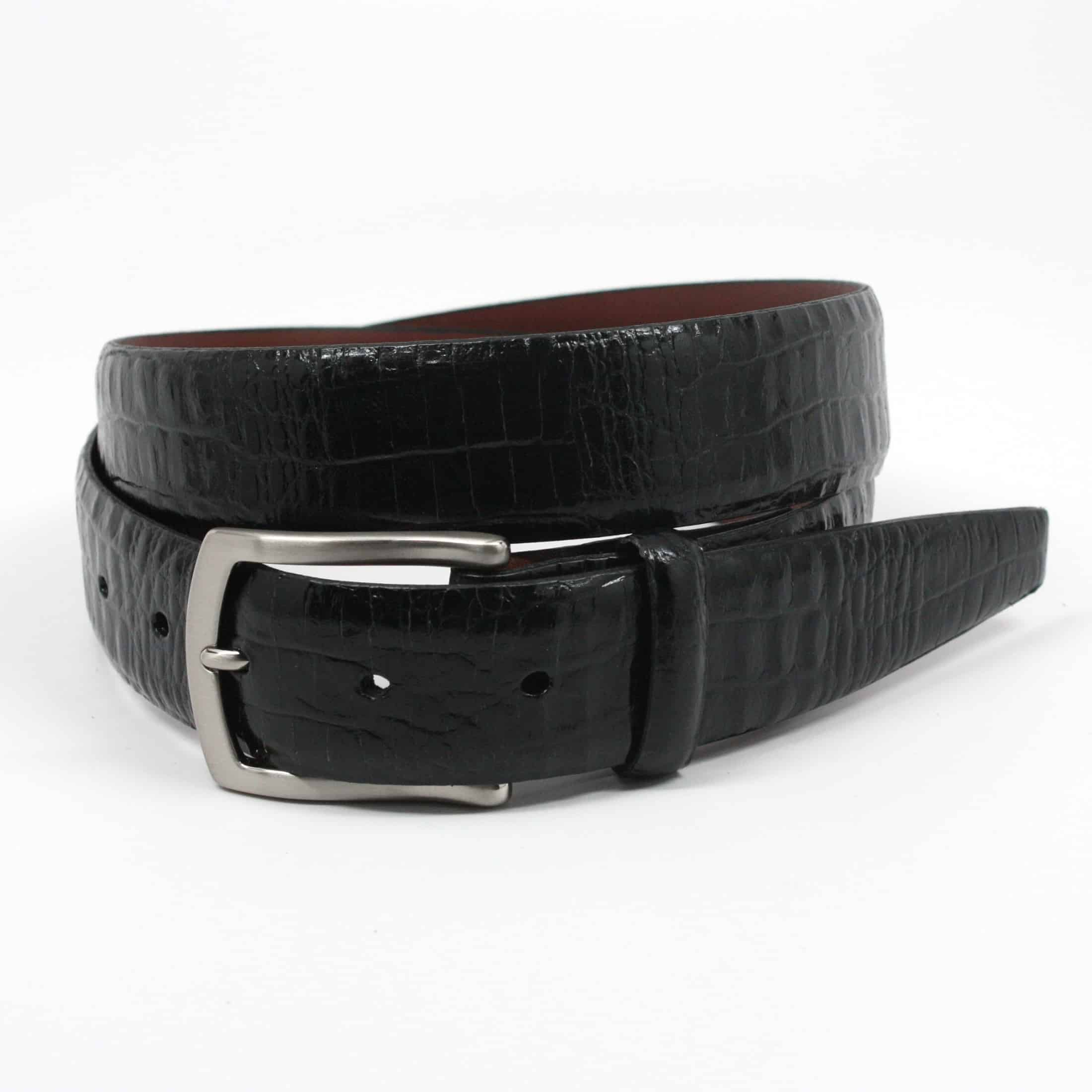 Alligator Embossed Glazed Calfskin Belt - Black,BELT,Gent Row, | GentRow.com