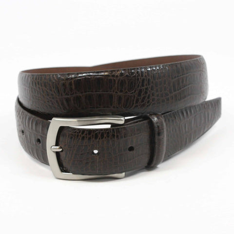 Alligator Embossed Glazed Calfskin Belt - Brown