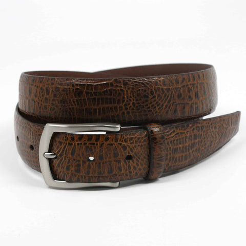 Alligator Embossed Glazed Calfskin Belt - Cognac