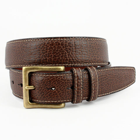 ITALIAN SHRUNKEN PEBBLED GLOVE LEATHER BELT - BROWN