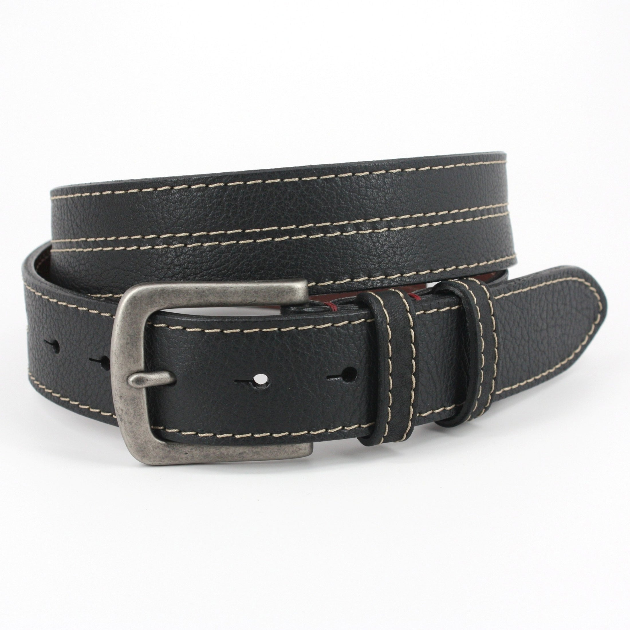 Oiled Shrunken Bison Leather Belt - Black,BELT,Gent Row, | GentRow.com