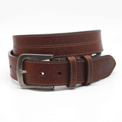Waxed Shrunken Bison Leather Belt - Brown,BELT,GentRow.com, | GentRow.com