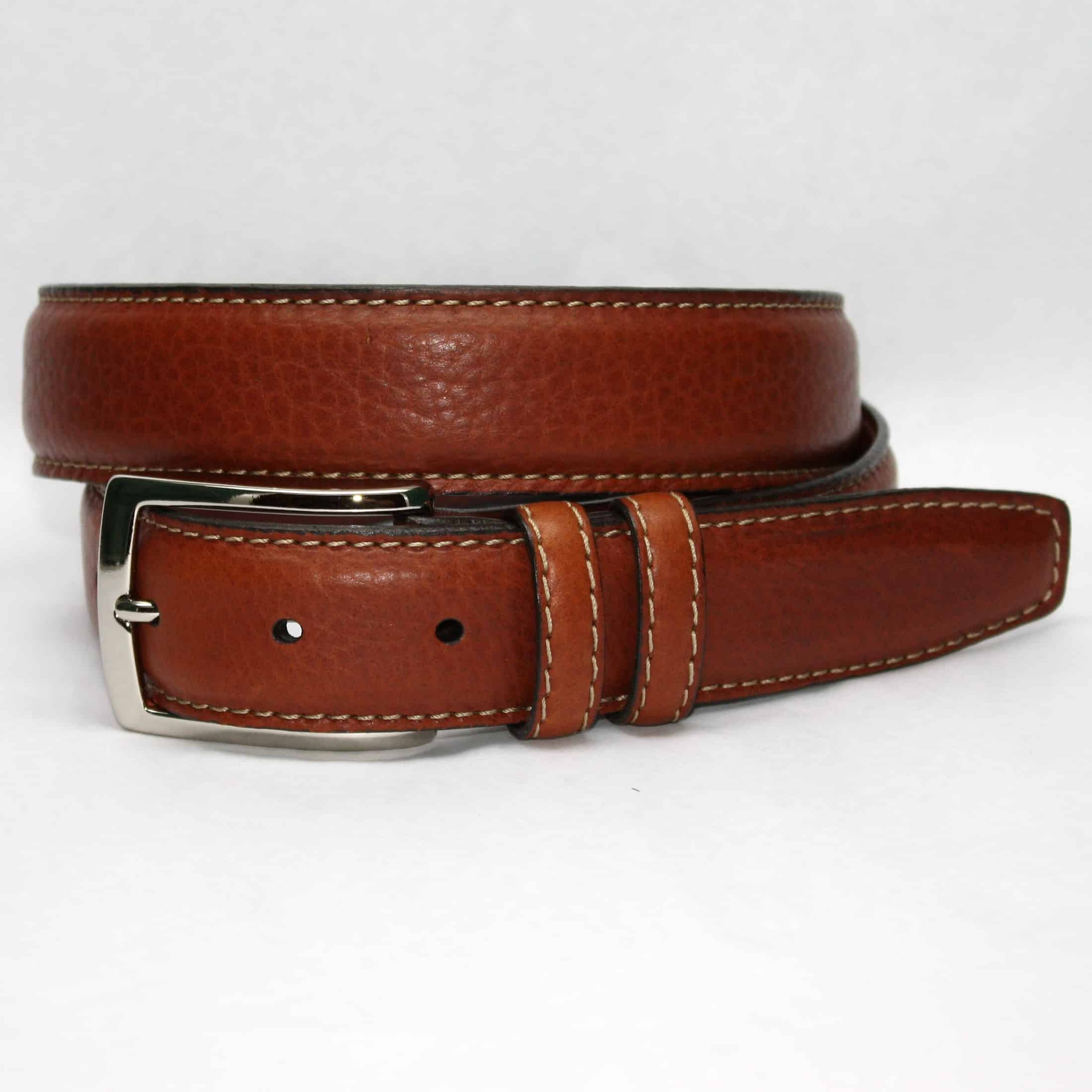 Genuine American Bison Leather Belt - Tan,BELT,Gent Row, | GentRow.com