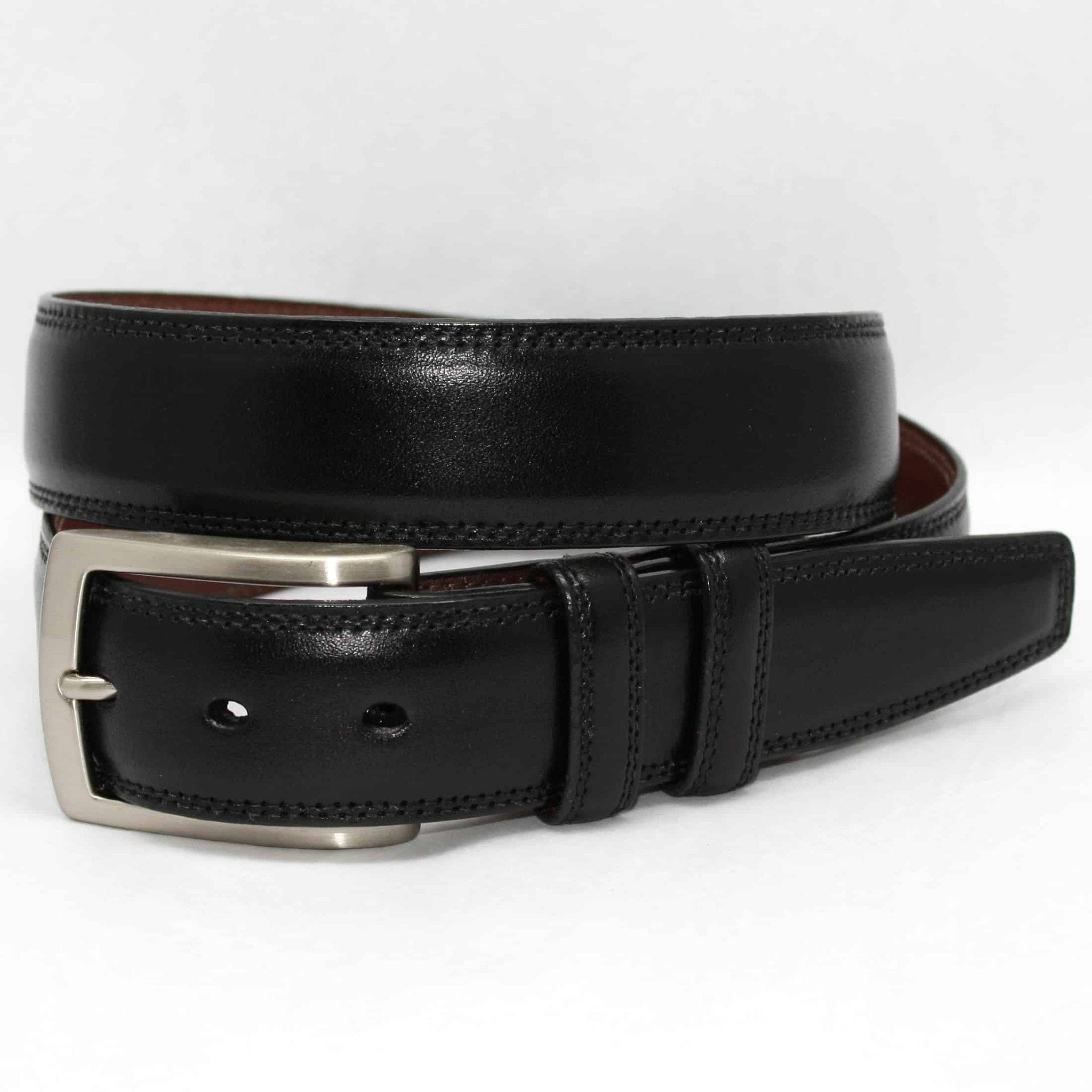 Italian Burnished Kipskin Belt - Black,BELT,Gent Row, | GentRow.com