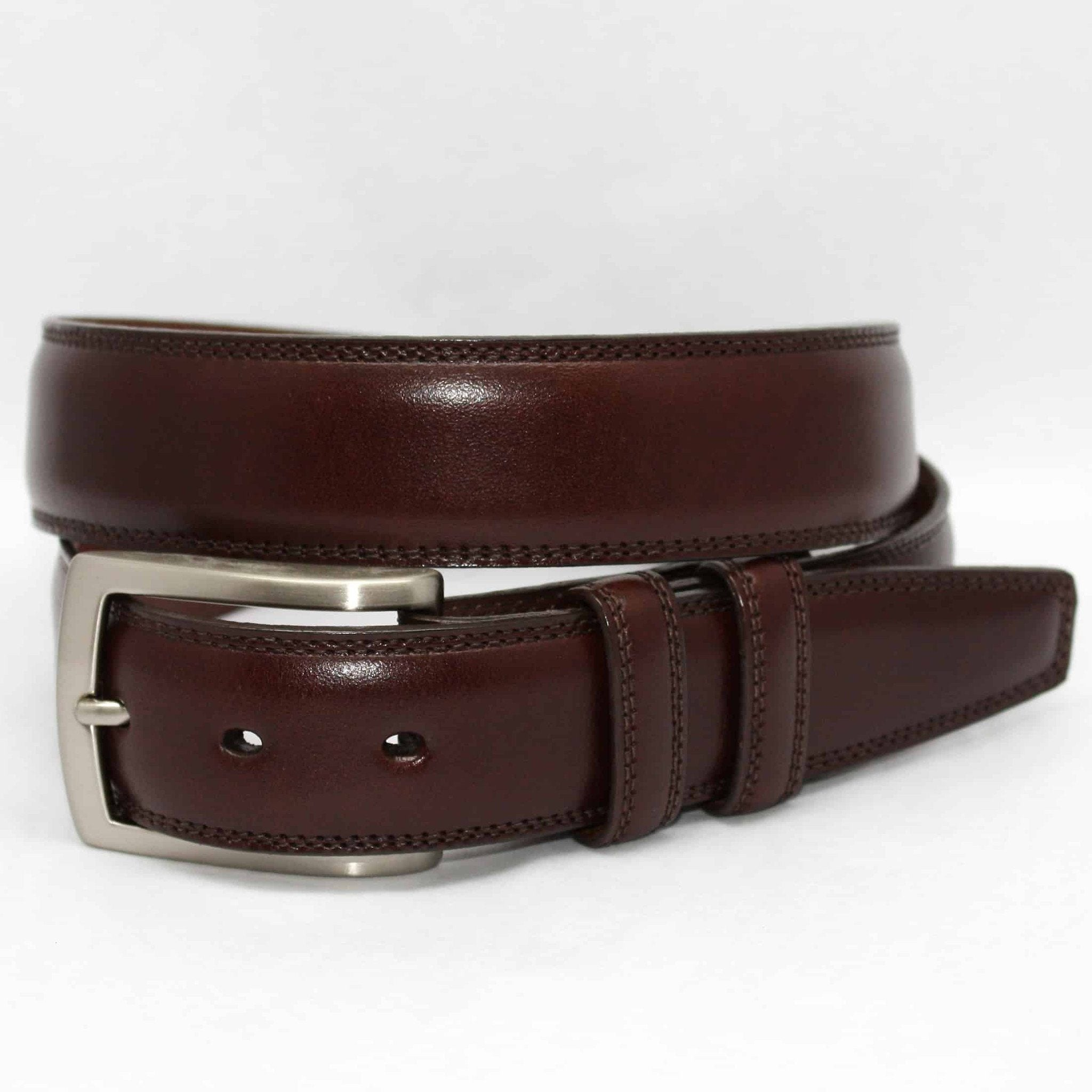 X-LONG Italian Burnished Kipskin Belt - Brown,BELT,GentRow.com, | GentRow.com