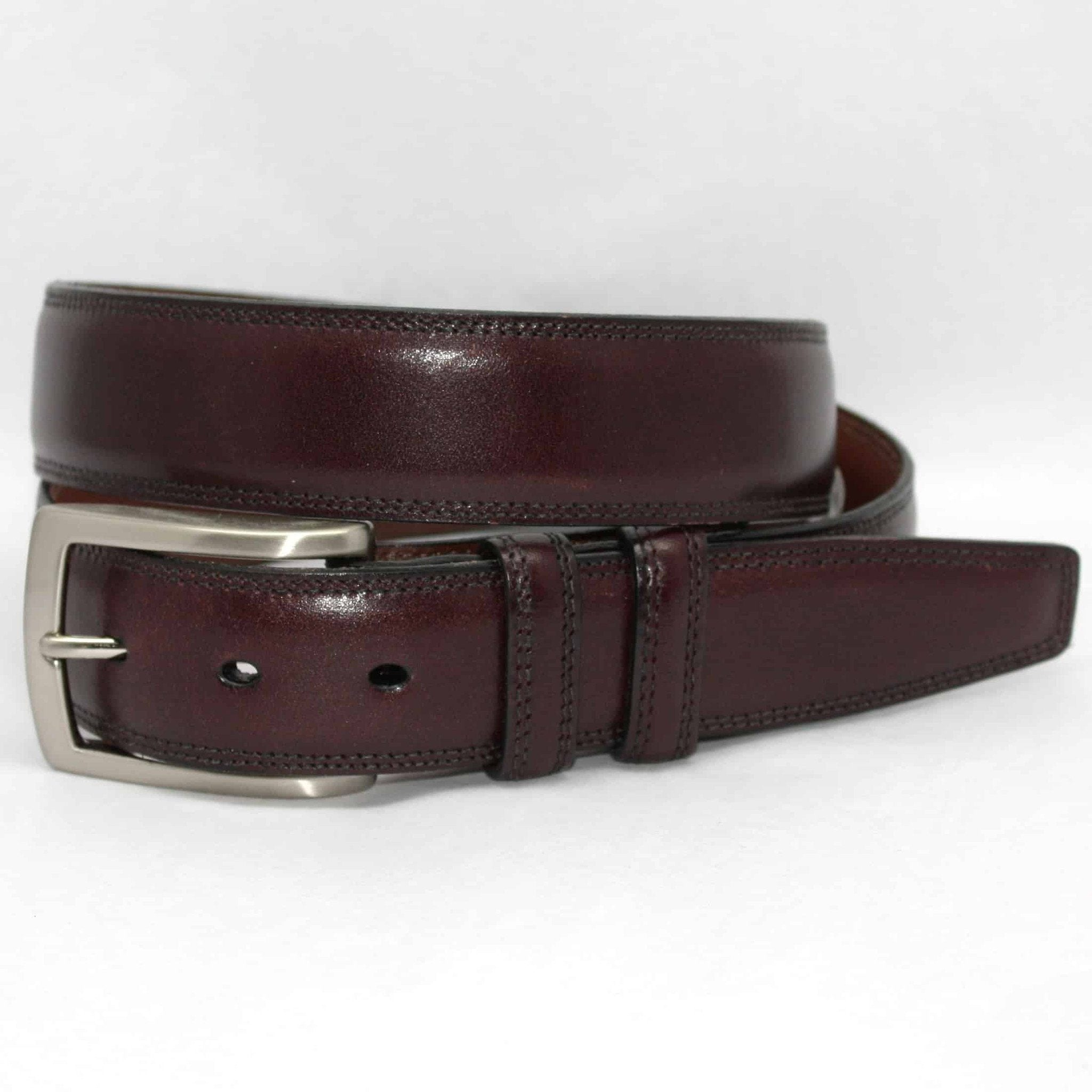 Italian Burnished Kipskin Belt - Burgundy (Cordovan),BELT,GentRow.com, | GentRow.com