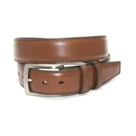 Italian Burnished Kipskin Belt - Saddle