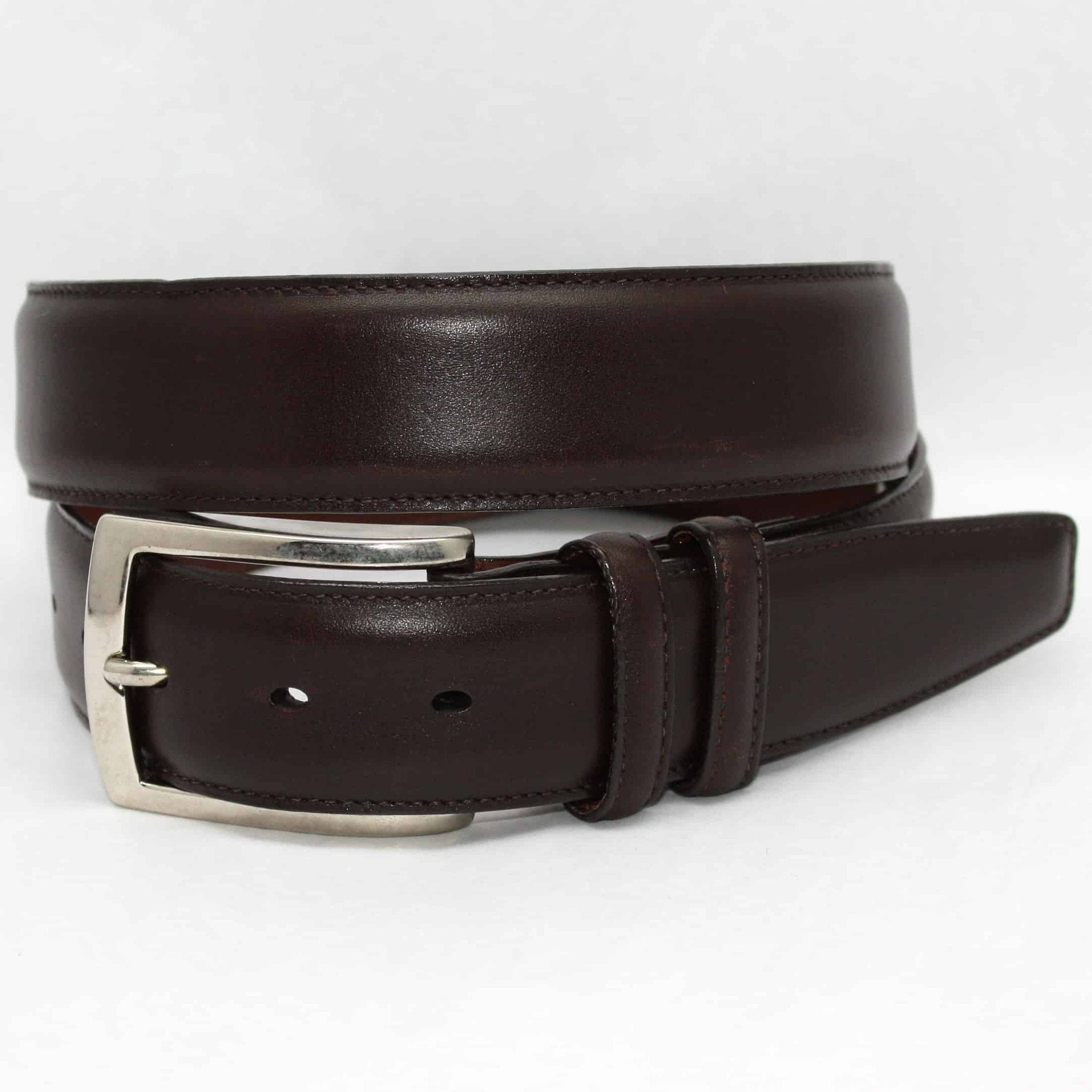 Italian Burnished Calfskin Belt - Brown,BELT,GentRow.com, | GentRow.com