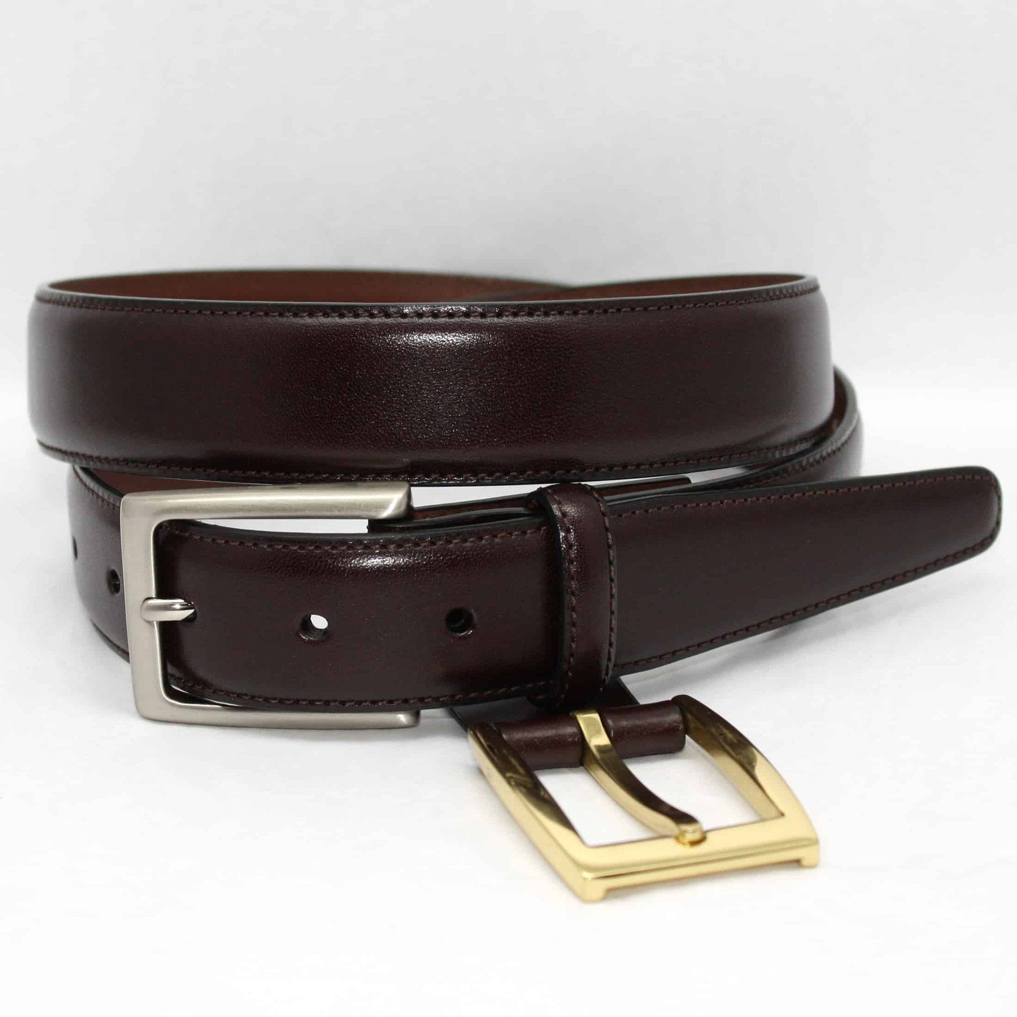 Glazed Kipskin Double Buckle Option Belt - Brown,BELT,GentRow.com, | GentRow.com