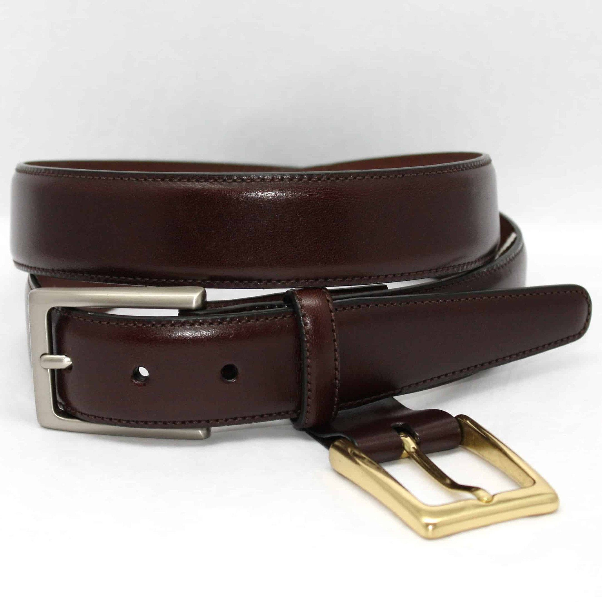 Glazed Kipskin Double Buckle Option Belt - Burgundy (Cordovan),BELT,GentRow.com, | GentRow.com