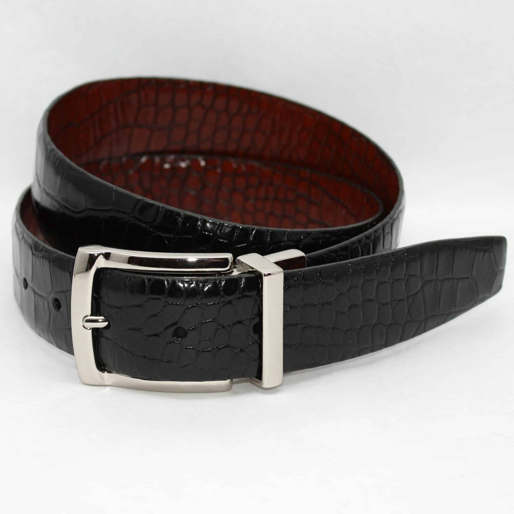 Italian Embossed Gator Calfskin - Reversible Black to Brown,BELT,GentRow.com, | GentRow.com