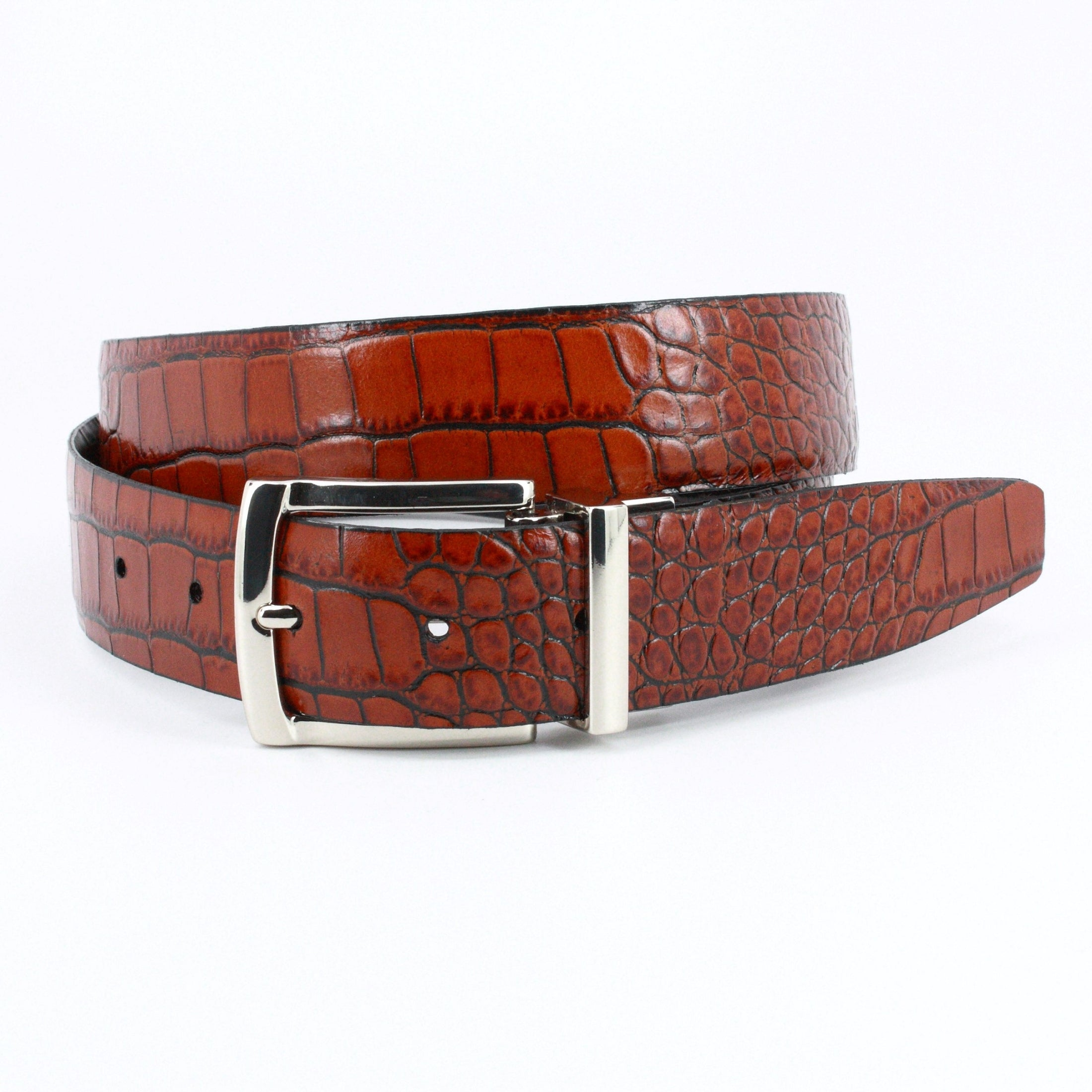 Italian Embossed Gator Calfskin - Reversible Black to Brown