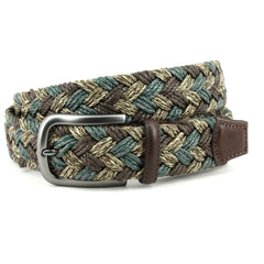 ITALIAN BRAIDED MULTI-COLORED MELANGE COTTON BELT - BROWN/TAUPE