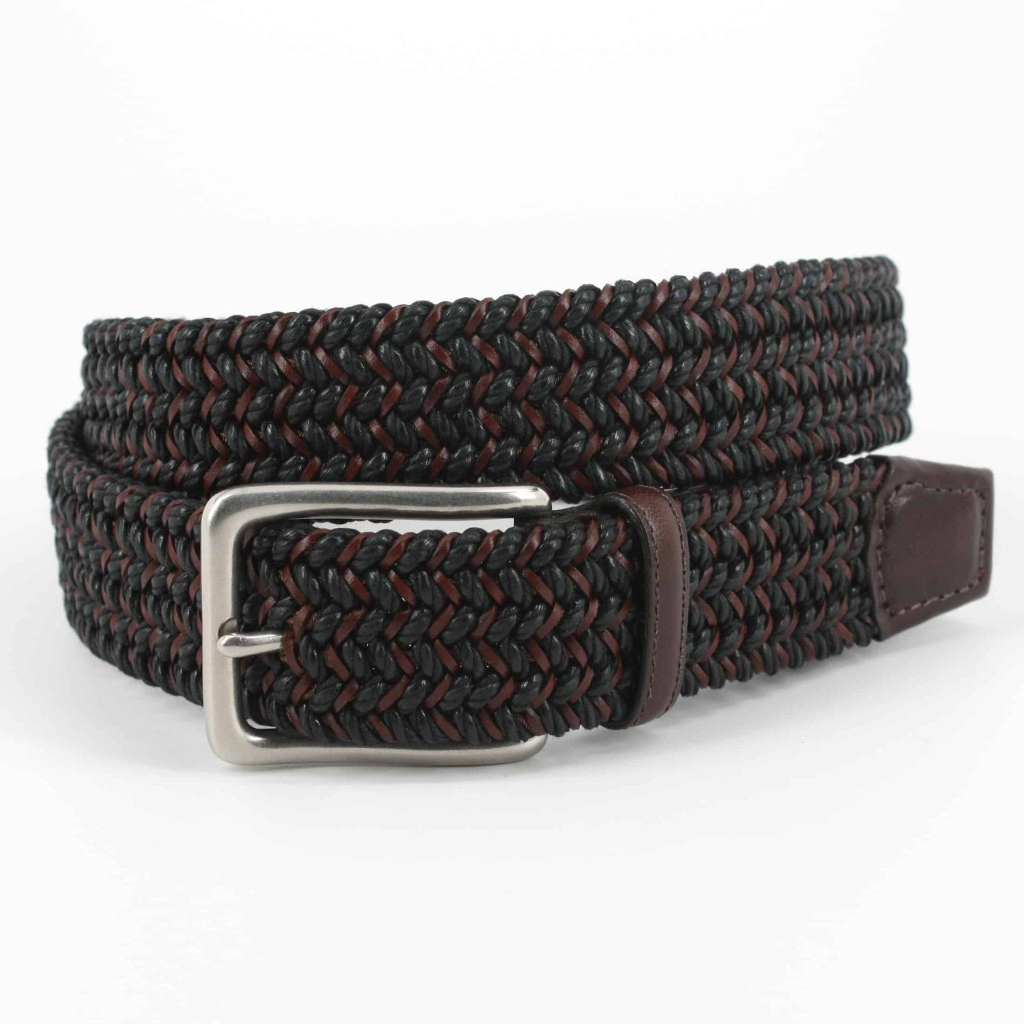Italian Woven Cotton & Leather Belt - Black/Brown,BELT,GentRow.com, | GentRow.com