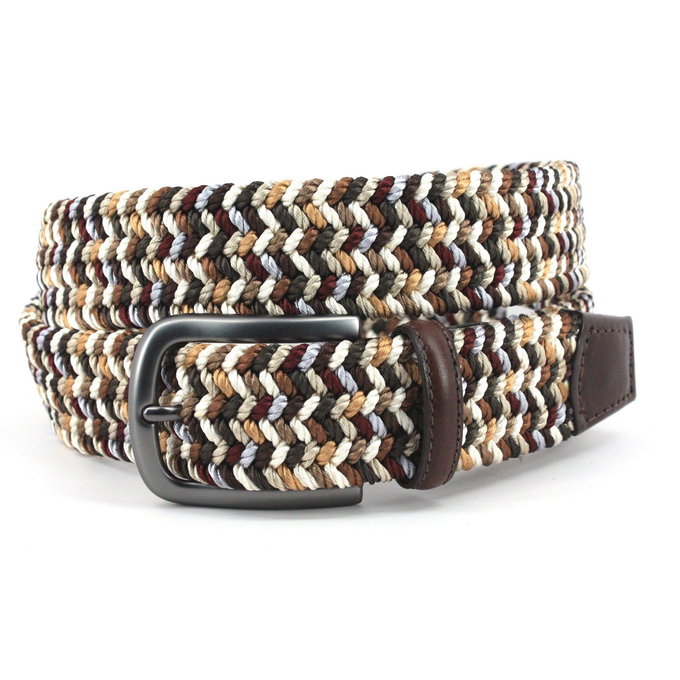 Italian Woven Rayon Elastic- Brown/Camel Multi,BELT,Gent Row, | GentRow.com