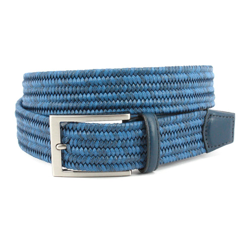 ITALIAN FLAT STRAND BRAIDED MELANGE COTTON ELASTIC - BLUE