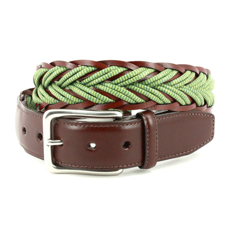 ITALIAN BRAIDED MELANGE COTTON & LEATHER BELT - GREEN/BROWN