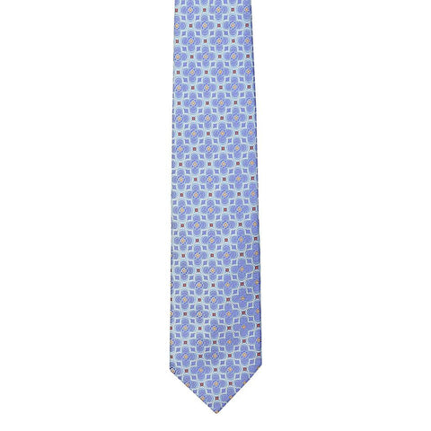 Light Blue Large Flower Woven Silk Tie 8cm