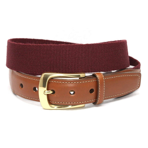 European Ribbed Surcingle Belt - Burgundy