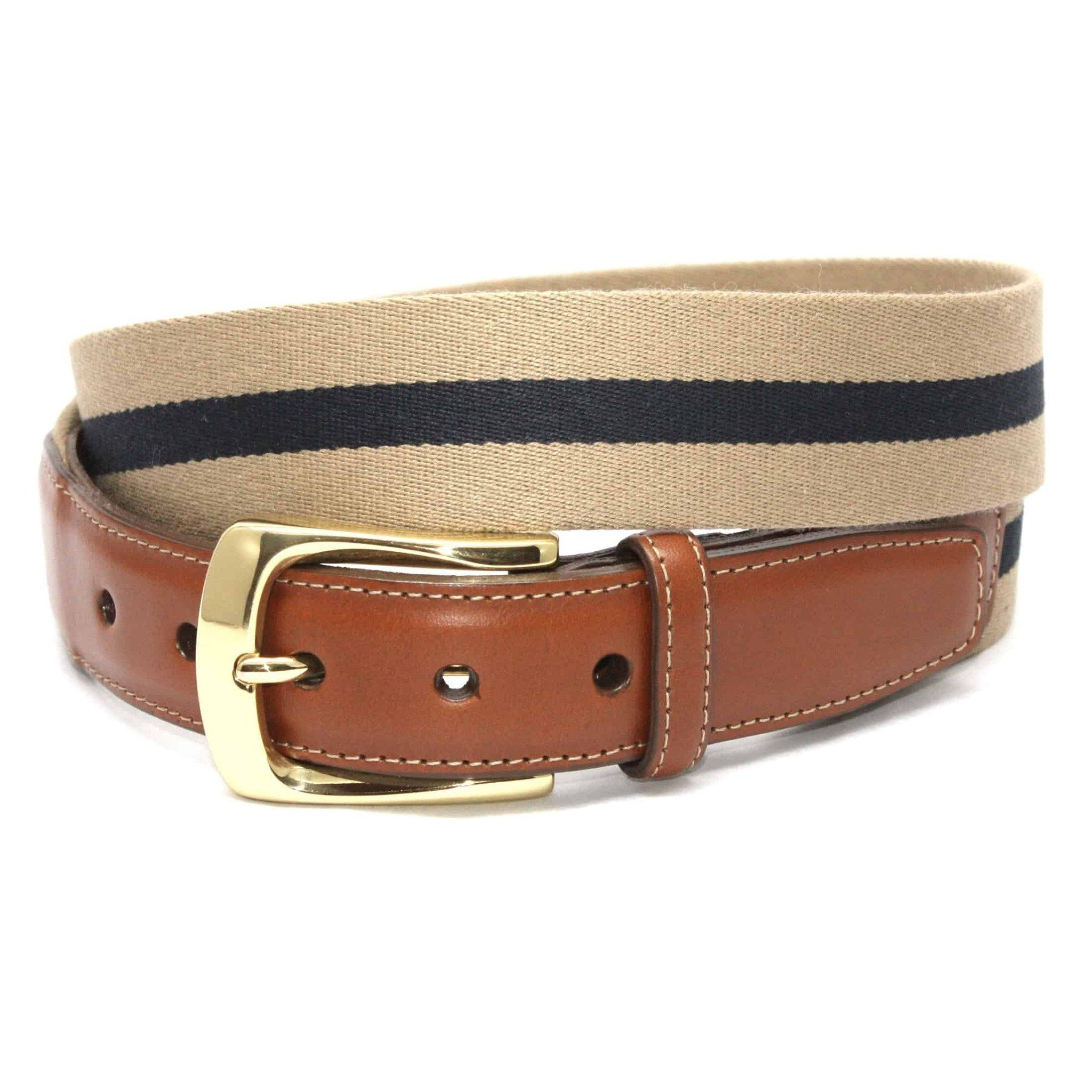 European Ribbed Striped Surcingle Belt - Camel/Navy,BELT,GentRow.com, | GentRow.com