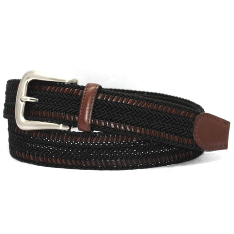Italian Woven Rayon over Kipskin Belt - Black