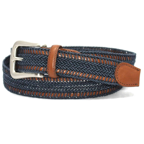 Italian Woven Rayon over Kipskin Belt - Denim