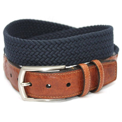 XLONG-Italian Woven Cotton Elastic Belt - Navy,BELT,Gent Row, | GentRow.com