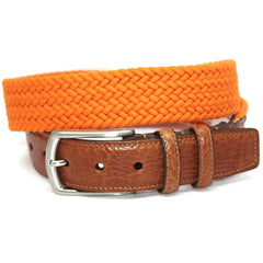 Italian Woven Cotton Elastic Belt - Orange,BELT,GentRow.com, | GentRow.com