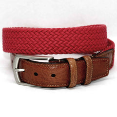Italian Woven Cotton Elastic Belt - Red,BELT,GentRow.com, | GentRow.com