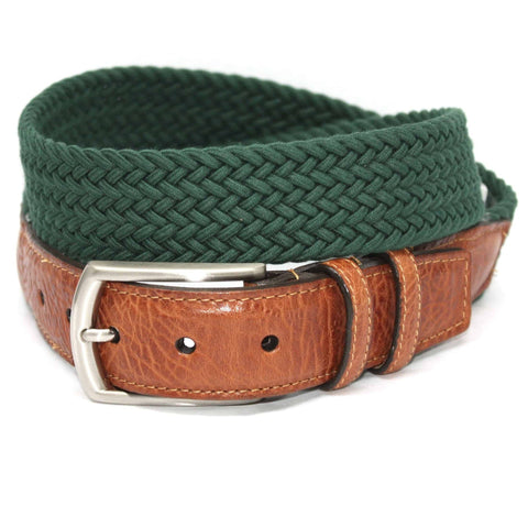 Italian Woven Cotton Elastic Belt - Dark Green