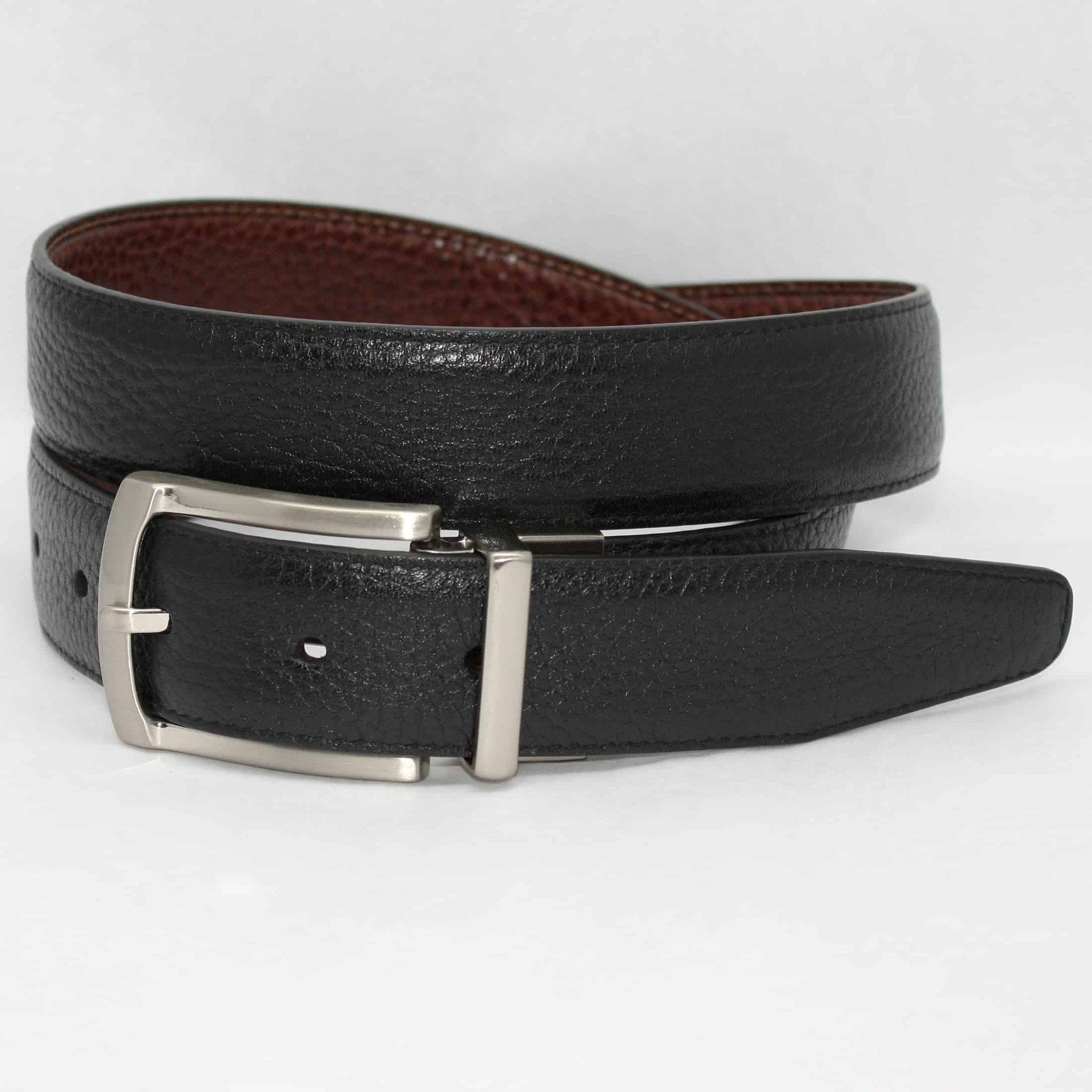 Pebbled Veal to Burnished Veal - Reversible Black to Cognac,BELT,GentRow.com, | GentRow.com