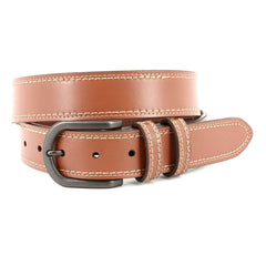 CONTRAST STITCH ITALIAN ANILINE LEATHER BELT - TAN