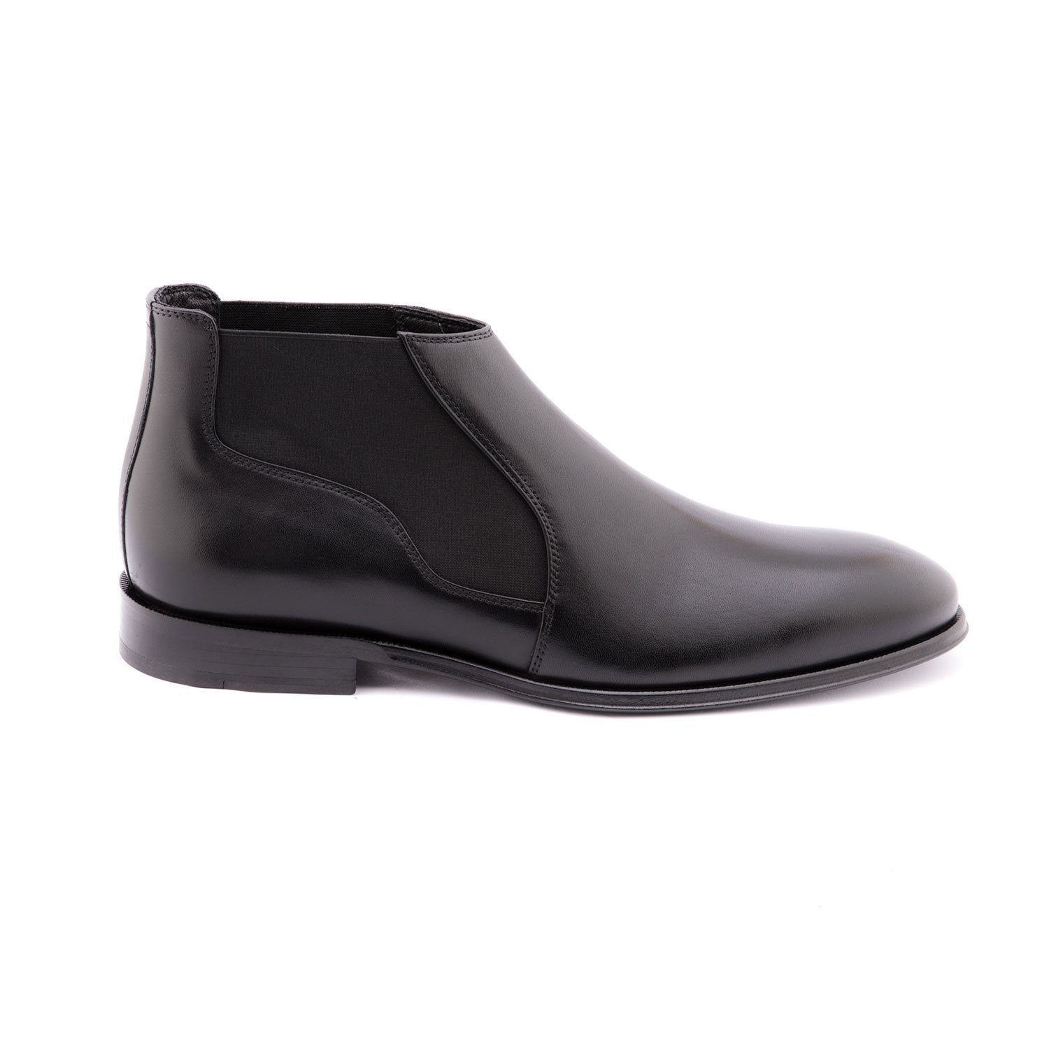 Black Leather Chelsea Boots 80120-BK