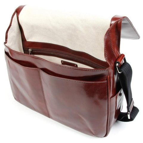 Dark Brown Old Leather Classic Messenger Bag