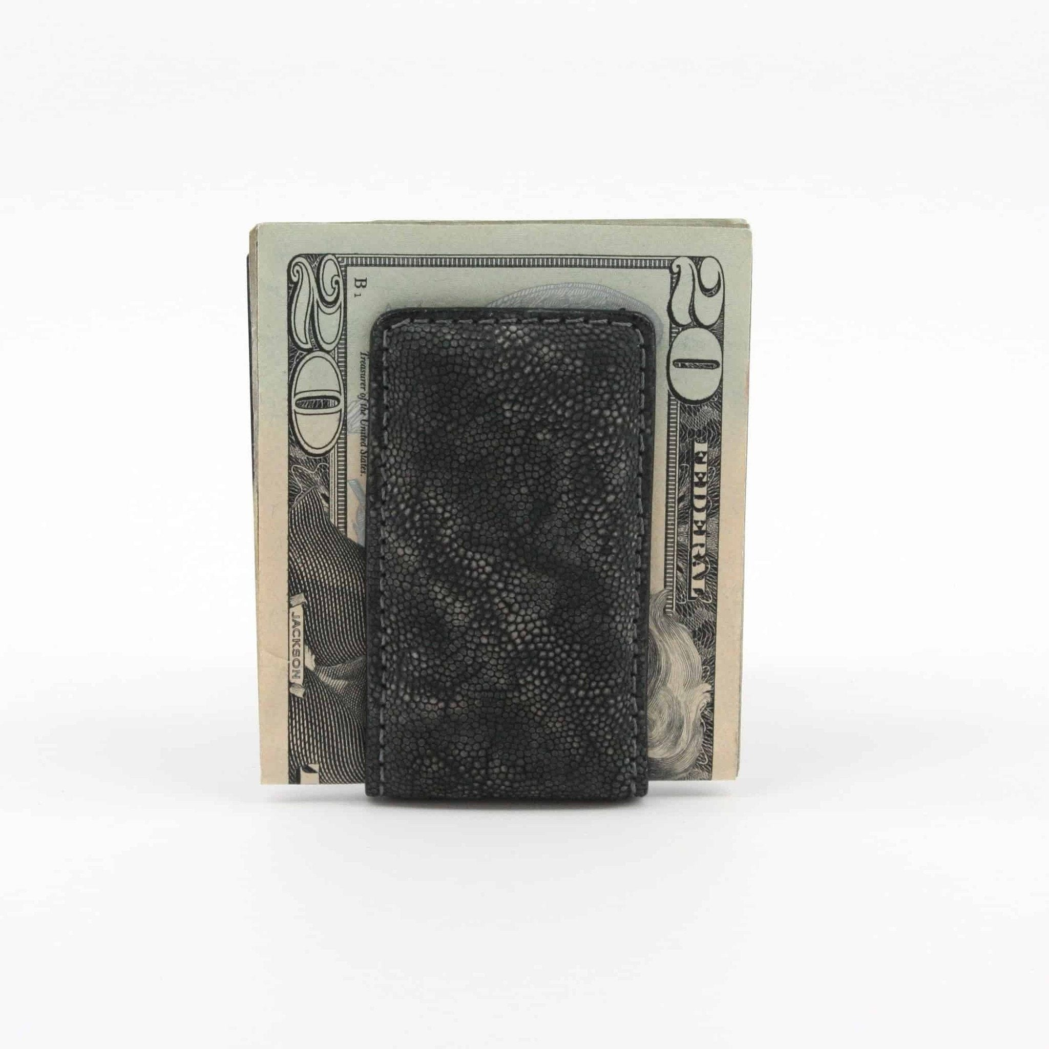 Elephant Skin Magnetic Money Clip - Charcoal,WALLETS,GentRow.com, | GentRow.com