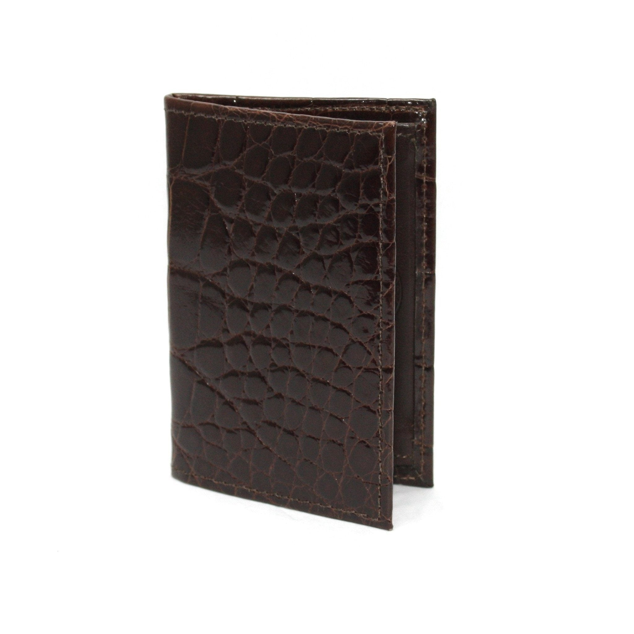 Genuine Alligator Gusseted Cardcase - Brown,WALLETS,GentRow.com, | GentRow.com