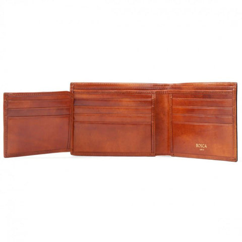 Amber Old Leather Classic Bi-fold with Card/I.D. Flap Wallet