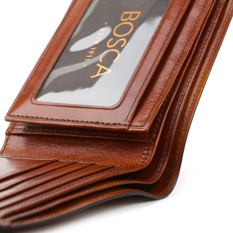Cognac Old Leather Classic Bifold with Card/I.D. Flap Wallet,WALLETS,GentRow.com, | GentRow.com