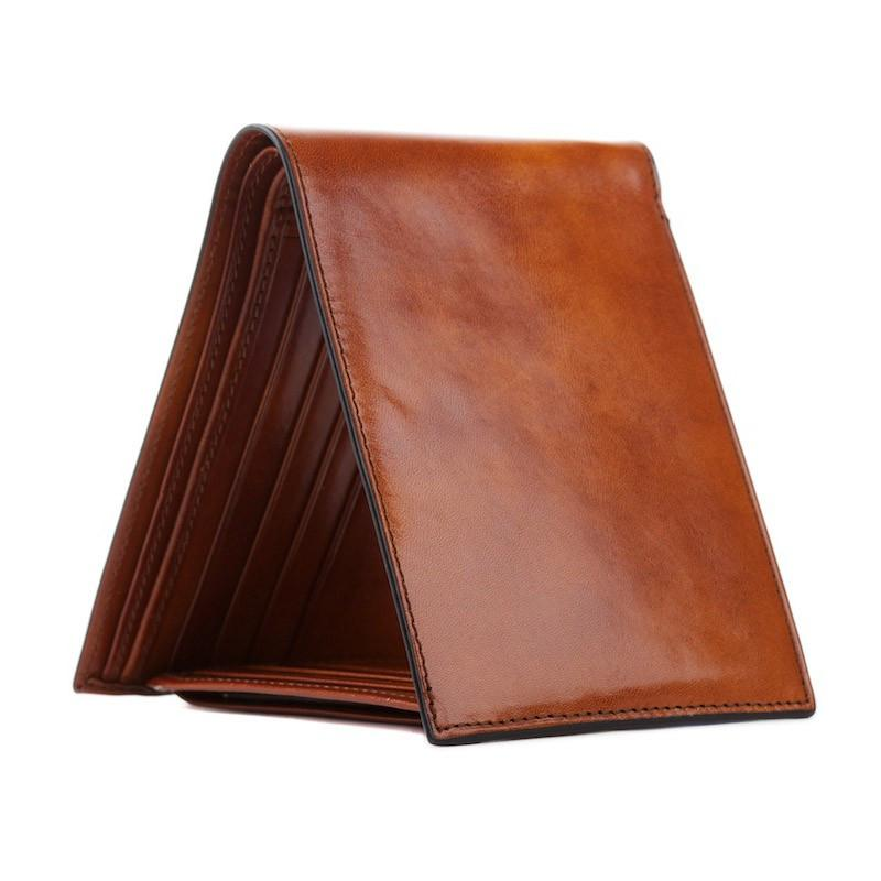 Amber Old Leather Classic Bi-fold with Card/I.D. Flap Wallet,WALLETS,GentRow.com, | GentRow.com