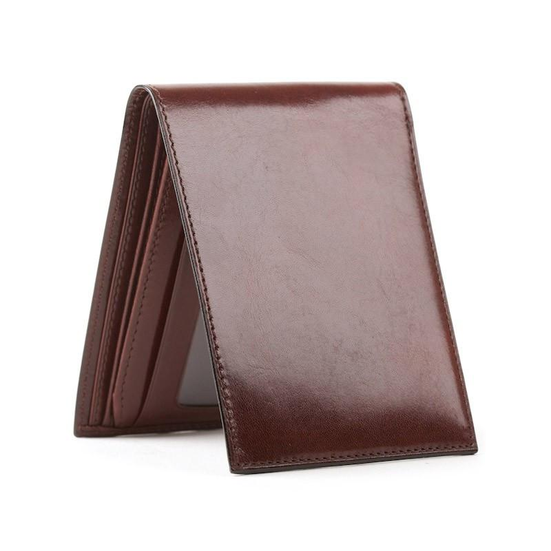 Dk Brown Old Leather Classic Bifold with Card/ID Flap Walle,WALLETS,GentRow.com, | GentRow.com