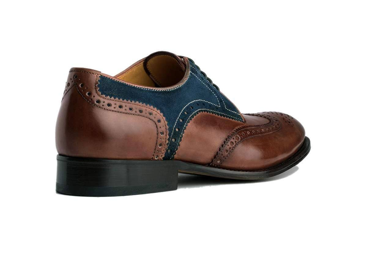 Derby Wingtips with contrasting brown antique Italian leather and blue suede,Market Place,Ace Marks, | GentRow.com
