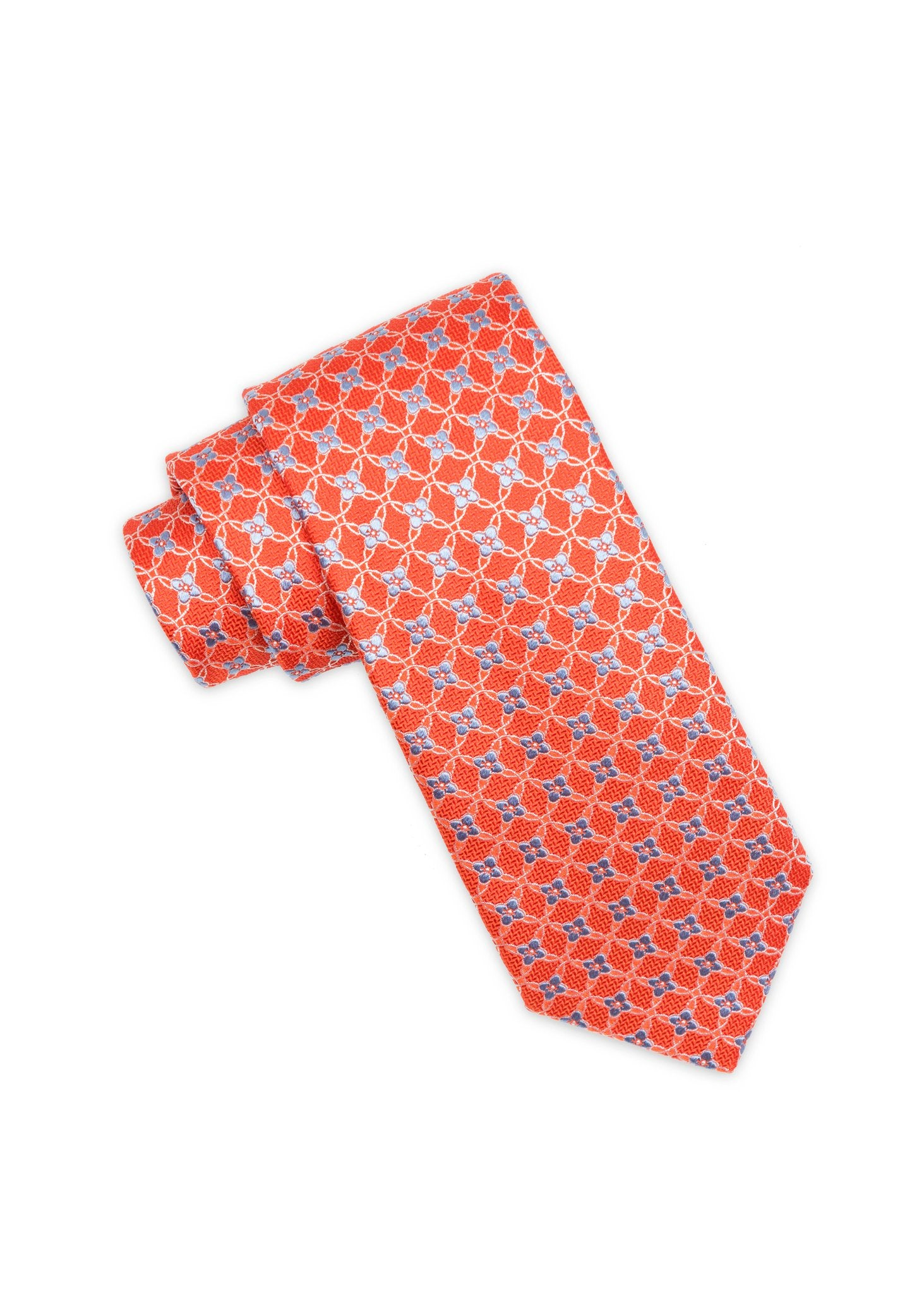 Orange Floral Club Pattern Silk Tie