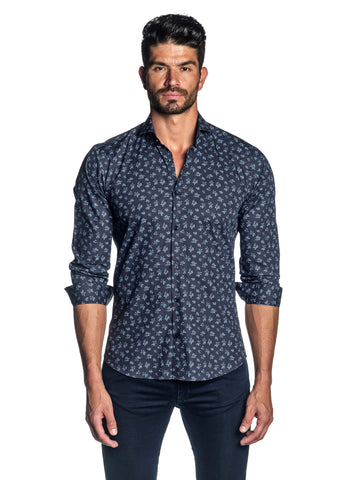 Navy Blue Floral Printed Shirt for Men AH-ITA-T-2100