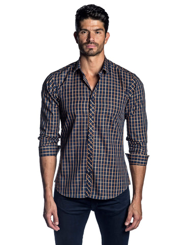 Navy Blue and Orange Check Shirt for Men AH-OT-2003