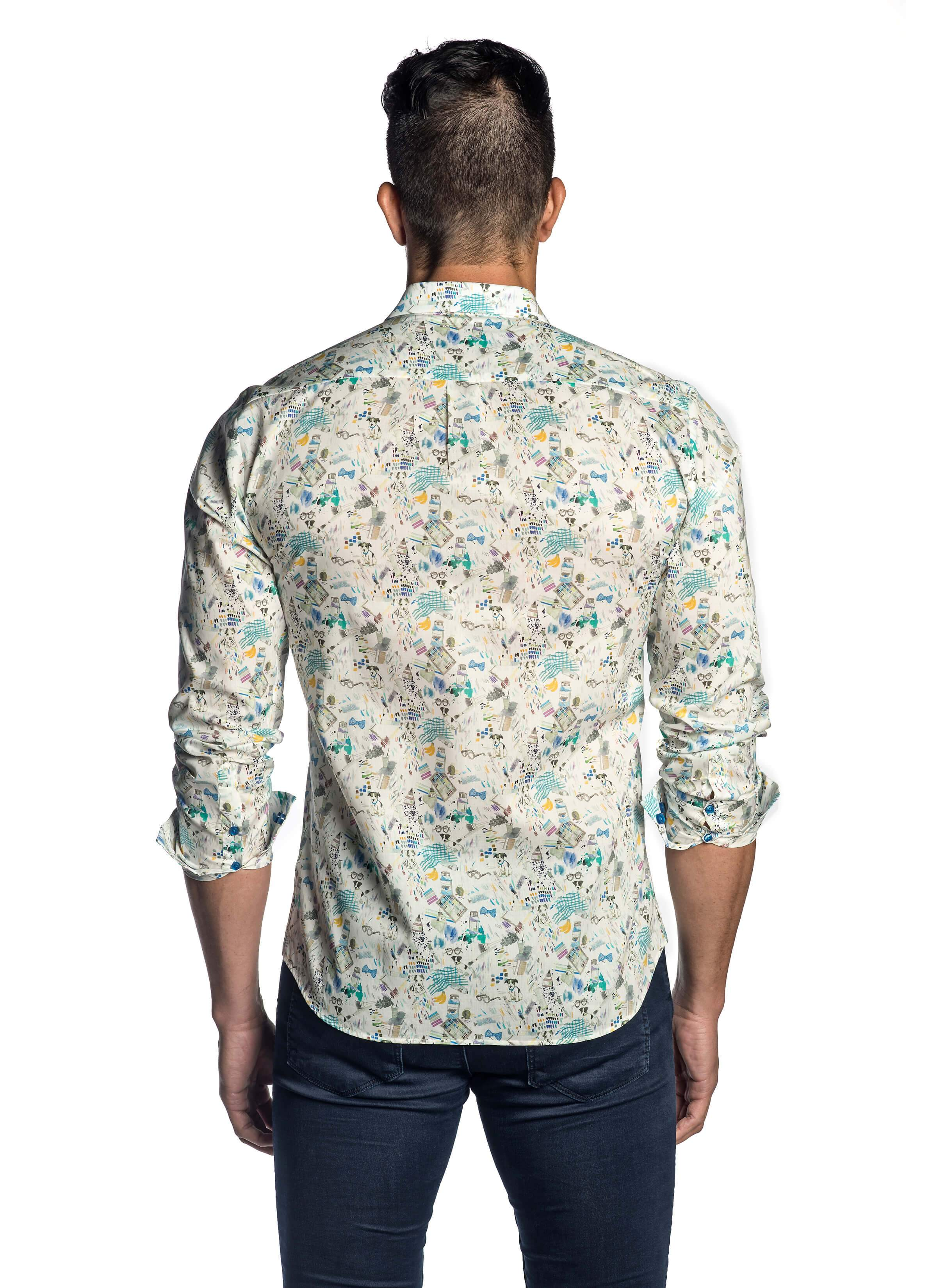 White Multicolor Printed Shirt for Men AH-T-002