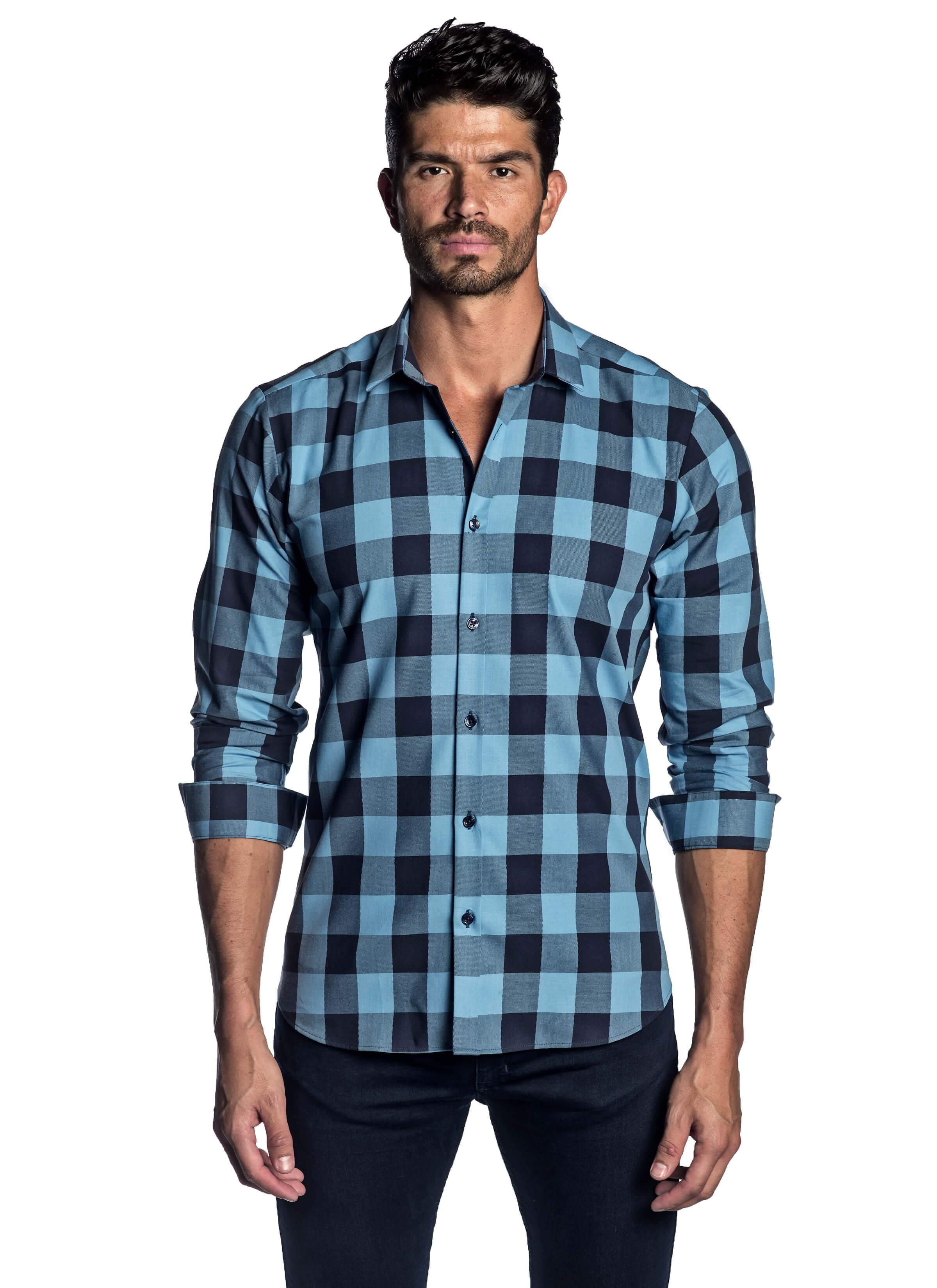 Light Blue and Navy Check Shirt for Men AH-T-2002
