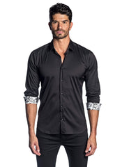 Black Solid Satin Shirt with Floral Trim AH-T-2006